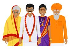 Family and social concept. Indian person generations at different ages. Set of adult people in traditional national Stock Images
