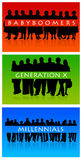 Generations. Overview of different generations: babyboomers, generation X and millennials Royalty Free Stock Image