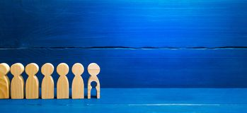 Generations of people are standing on a blue background. The chain of procreation is interrupted by the last adult man stock photo