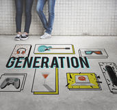Generations-Unterhaltungs-Freizeit-Jugend-Konzept Vektor Abbildung
