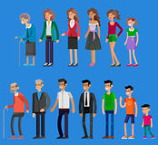 Generations woman. All age categories. Detailed characters people. Generations woman and men. All age categories - infancy, childhood, adolescence, youth Stock Image