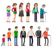 Generations woman. All age categories. Detailed characters people  on white background. Generations woman and men. All age categories - infancy, childhood Stock Photos