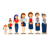 Generations woman. People generations at different ages. All age categories - infancy, childhood, adolescence, youth Royalty Free Stock Photography