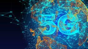 Generato da computer, animazione di tecnologia di connettività 5G royalty illustrazione gratis