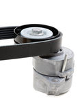 Generator belt tensioner pulley with Poly-V belt Stock Photo