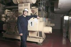 Generator in het ziekenhuis met een reparatiemensen stock afbeelding