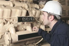Generator  in a hospital with a repair men Stock Photo