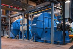 Generator inside power plant Stock Photos
