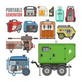 Generator vector power generating portable diesel fuel energy industrial electrical engine equipment illustration set of. Electric gas industry isolated on stock illustration