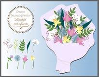 Generatore creativo del mazzo Insieme dei fiori di vettore Fotografia Stock Libera da Diritti