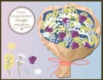 Generatore creativo del mazzo Insieme dei wildflowers di vettore illustrazione vettoriale