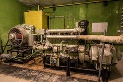 Generatore diesel nel rifugio antiaereo Immagine Stock