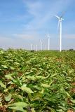 Generatore eolico contro il fondo nuvoloso del cielo blu immagine stock libera da diritti