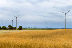 Generatore eolico fra le orecchie dorate dei raccolti di grano Fotografia Stock Libera da Diritti