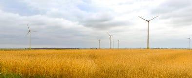 Generatore eolico fra le orecchie dorate dei raccolti di grano Immagine Stock Libera da Diritti