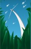 Generatore eolico nell'erba Immagine Stock