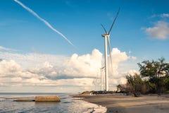 Generatori di generatori eolici sul mare in Nakhon Si Thammarat Fotografie Stock