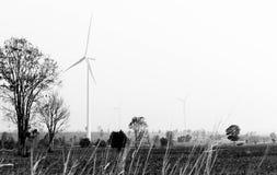 Generatori eolici in bianco e nero Fotografia Stock