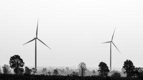 Generatori eolici in bianco e nero Immagini Stock Libere da Diritti