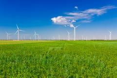 Generatori eolici che generano elettricit? sul campo Potere di Eco, ecologia e concetto alterno di potere fotografia stock libera da diritti