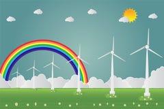 Generatori eolici con l'energia pulita del sole con le idee ecologiche di concetto della strada Illustrazione di vettore Immagine Stock