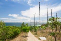 Generatori eolici e mare blu Fotografie Stock