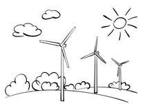 Generatori eolici e natura - illustrazione Illustrazione Vettoriale