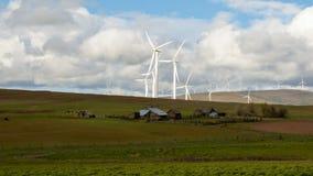Generatori eolici e tubi flessibili del ranch in Goldendale WA 1080 stock footage