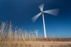 Generatori eolici nel moto da sotto, erba nella priorità alta Fotografia Stock Libera da Diritti