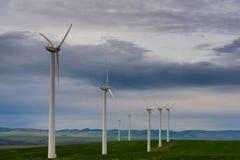 Generatori eolici presto alla luce in anticipo di alba Immagine Stock