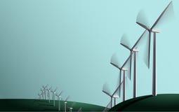 Generatori eolici sui campi Fotografie Stock Libere da Diritti