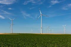 Generatori eolici in un paesaggio di agricoltura Fotografia Stock Libera da Diritti