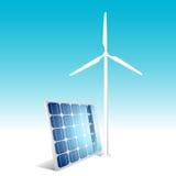 generatorowego panelu słoneczny wiatr Obrazy Royalty Free