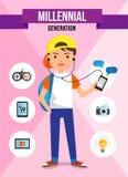 Generazione millenaria - personaggio dei cartoni animati Fotografia Stock