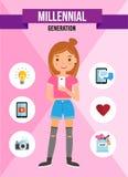 Generazione millenaria - personaggio dei cartoni animati Fotografia Stock Libera da Diritti