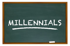 Generazione Y Demo Group Chalk Board Word di Millennials Fotografie Stock