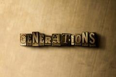 GENERAZIONI - primo piano della parola composta annata grungy sul contesto del metallo royalty illustrazione gratis