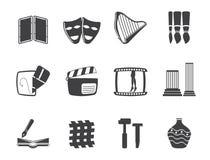 Genere differente della siluetta di icone di arti Fotografia Stock Libera da Diritti