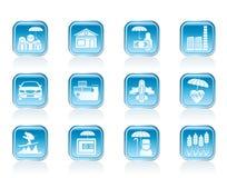 Genere differente di icone di rischio e di assicurazione Fotografie Stock