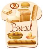 Genere differente di pane illustrazione di stock