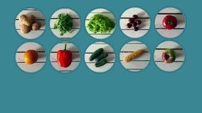 Genere differente di verdure e di frutta che compaiono sui precedenti blu illustrazione vettoriale