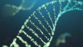 Genere el gráfico del cromosoma de la DNA conectan junto macro para la ciencia médica en fondo azul ilustración del vector