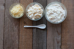 Genere tre di formaggio Fotografia Stock