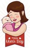 Generi abbracciare il suo bambino sorridente con il nastro di festa della Mamma, illustrazione di vettore Fotografie Stock