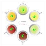 6 generi di base di tè cinese Immagine Stock
