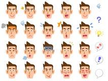 20 generi di espressioni facciali del ` s dell'uomo royalty illustrazione gratis