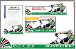 Generi di estate di sport bike la prospettiva biking della montagna delle mani della foresta del fuoco del campo di profondità de illustrazione vettoriale