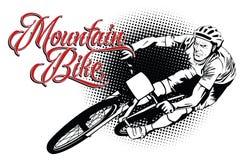 Generi di estate di sport bike la prospettiva biking della montagna delle mani della foresta del fuoco del campo di profondità de illustrazione di stock