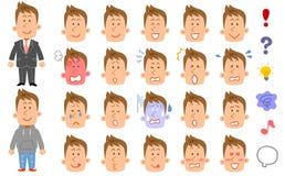 20 generi di giovani con capelli marroni che esprimono espressione ed emozione royalty illustrazione gratis