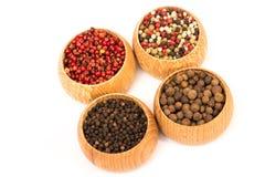 Generi differenti di fagioli del granello di pepe isolati Fotografie Stock Libere da Diritti